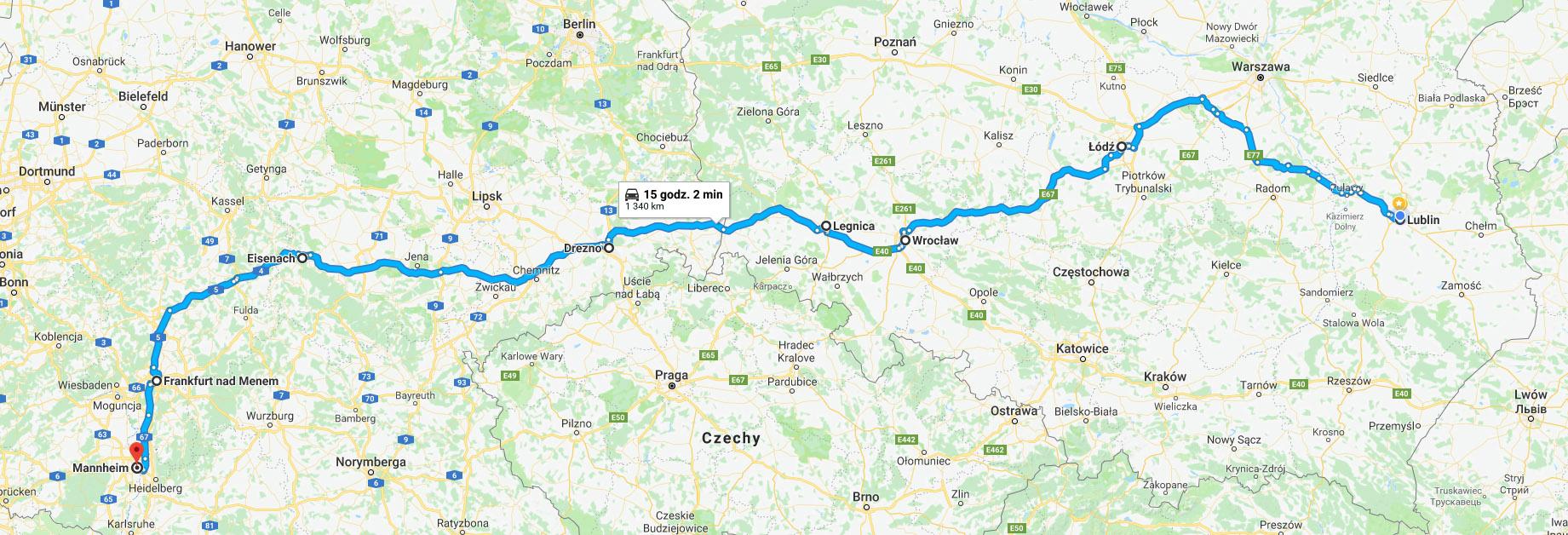 Przebieg trasy Lublin – Mannheim przez Puławy, Kielce i Częstochowę