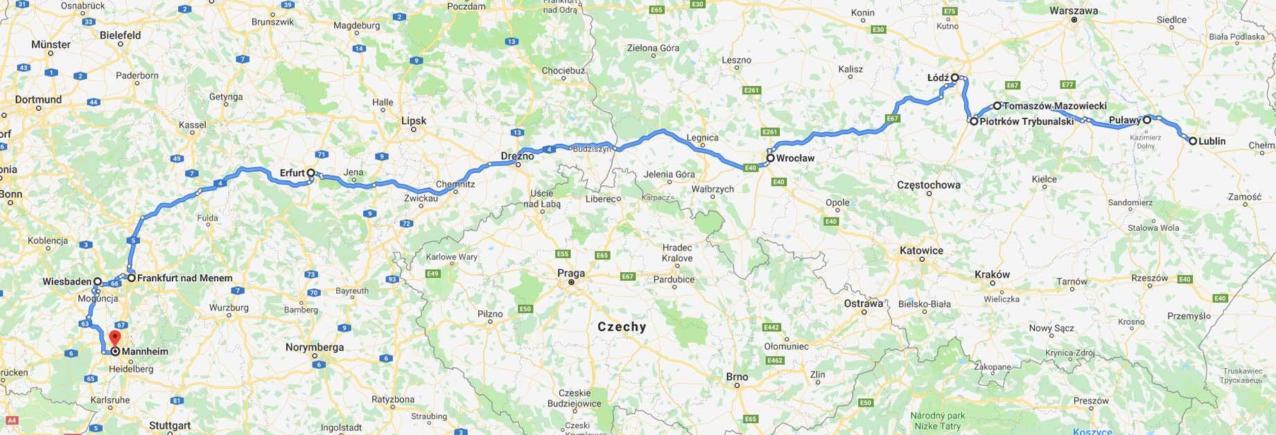 Przebieg trasy Lublin – Mannheim przez Puławy, Tomaszów Mazowiecki i Łódź